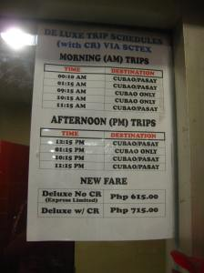 FARE AND TRIP SCHEDULE